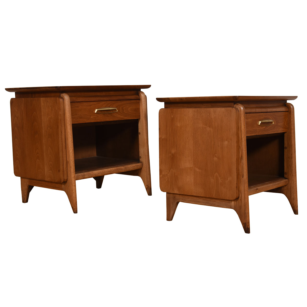 Pair 1950's Sculpted Mid-Century Modern Nightstands / End Tables