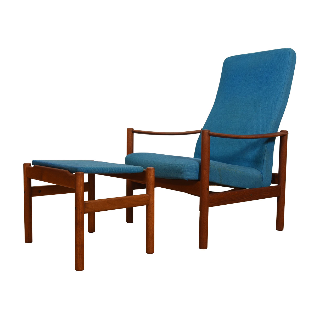 Reclining Norwegian Teak Lounge Chair + Ottoman