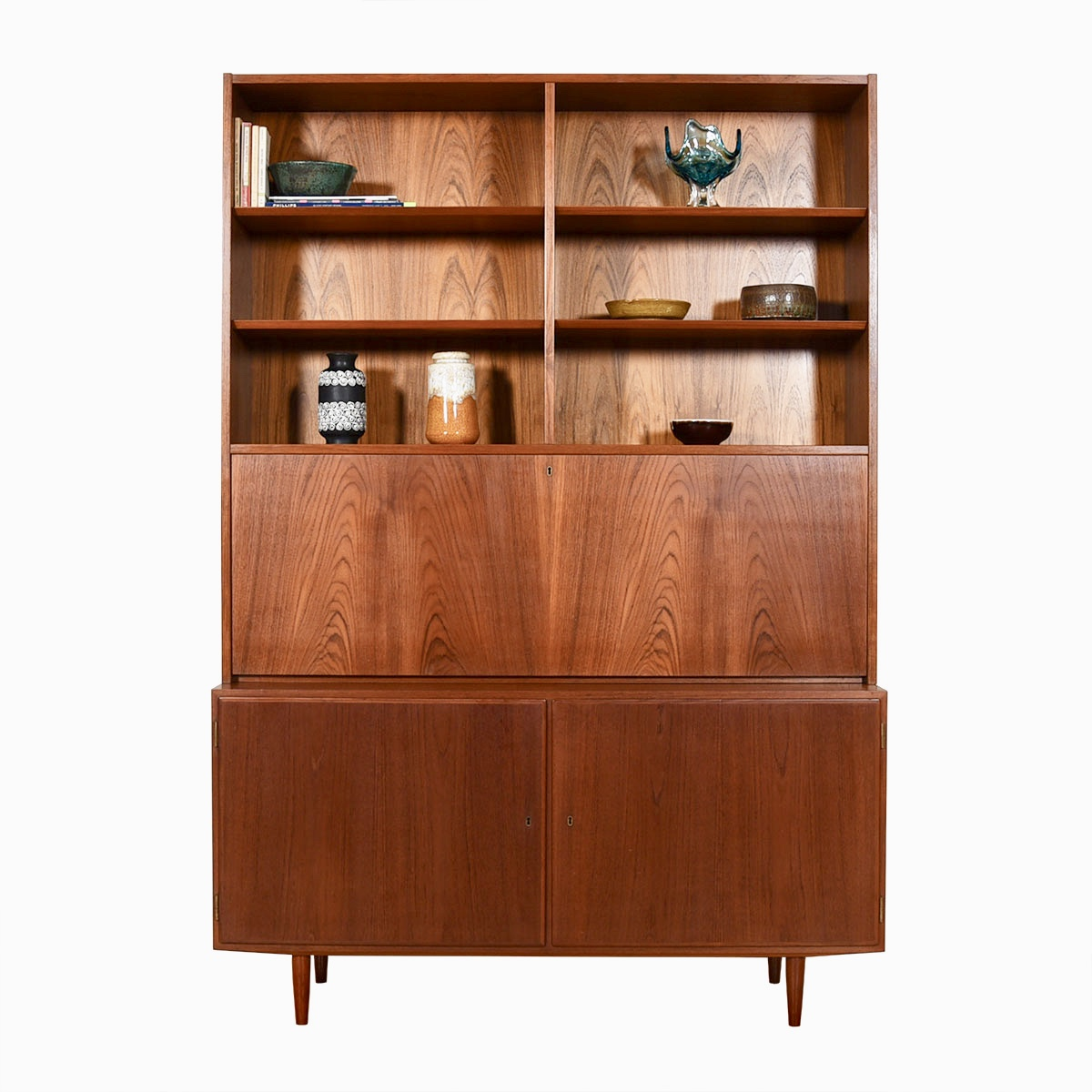 Danish Modern Teak 2-Piece Secretary / Locking Door Storage Cabinet