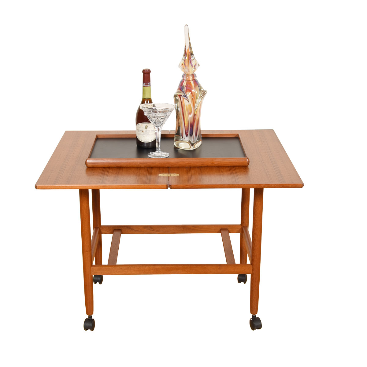 Expanding Danish Teak Cocktail Cart with Reversible Serving Tray