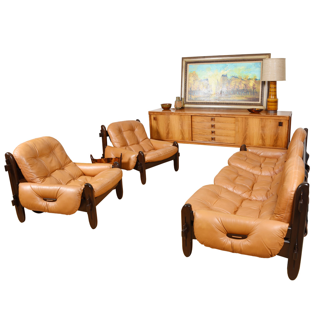 Rare Brazilian Sofa & Lounge Chair Set