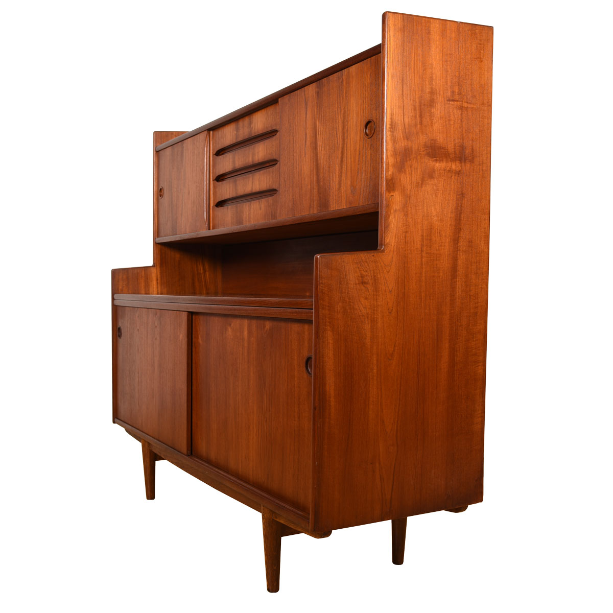 Danish Teak Petite Highboard Cabinet w/ Pull-Out Serving Shelf