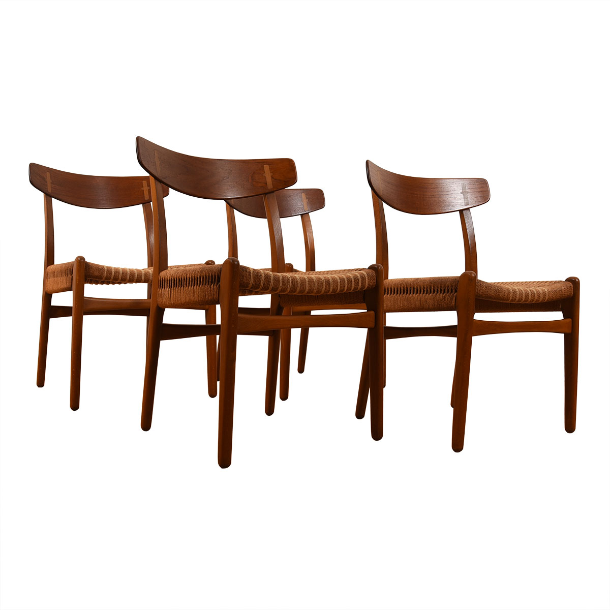 Hans Wegner CH23 Dining Chairs — Teak Set of 4 with Rope Seats