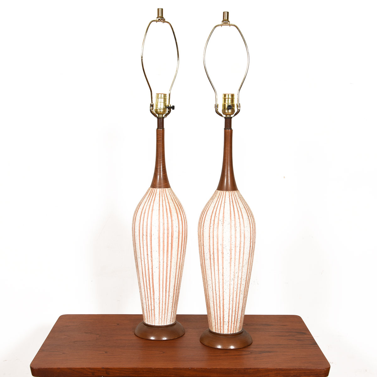 Pair, Mid-Century Modern Walnut and Striated Pottery Lamps