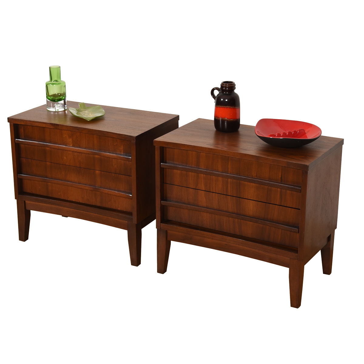 Pair Mid Century Walnut 2-Drawer Nightstands