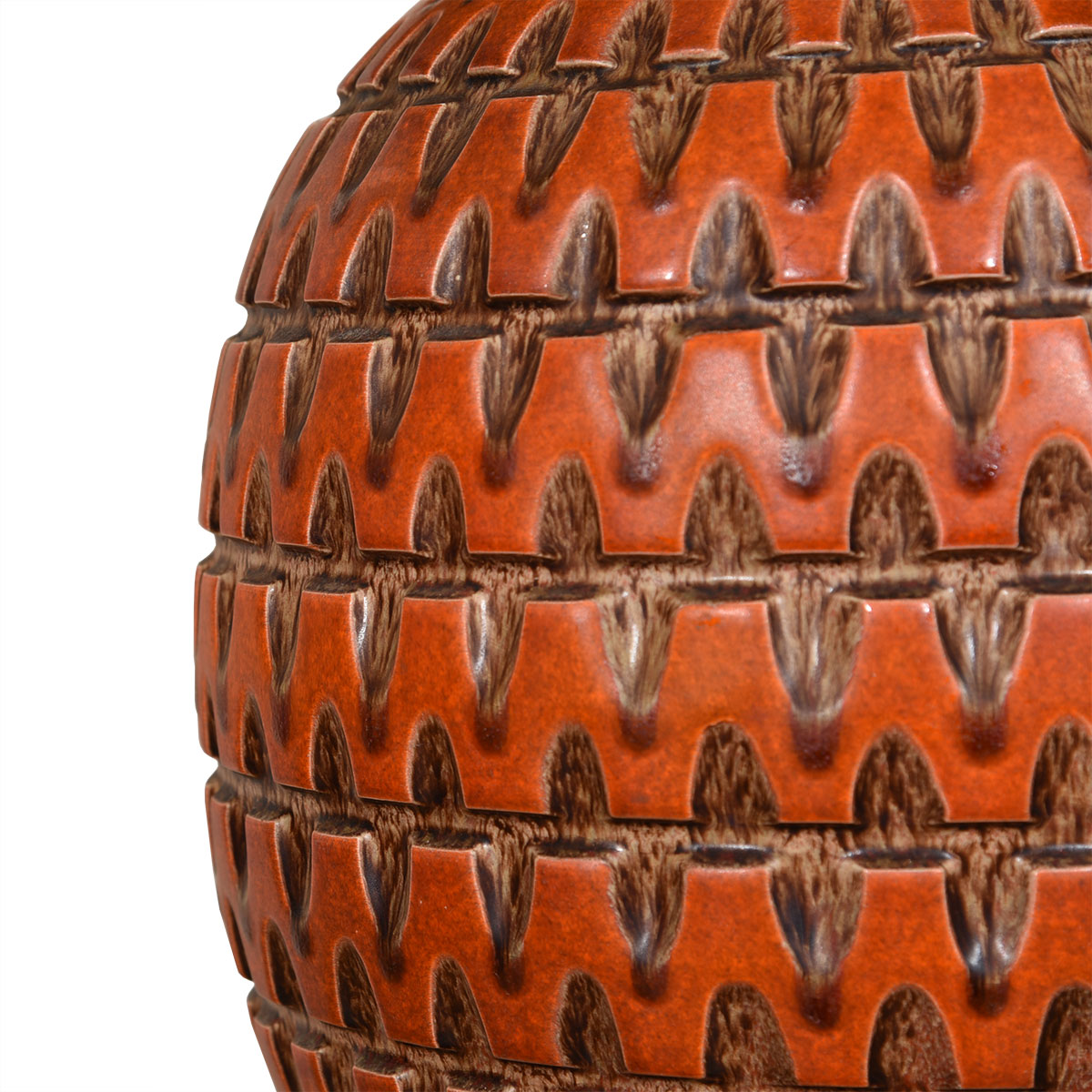 Large Orange Bulbous Decorator Lamp