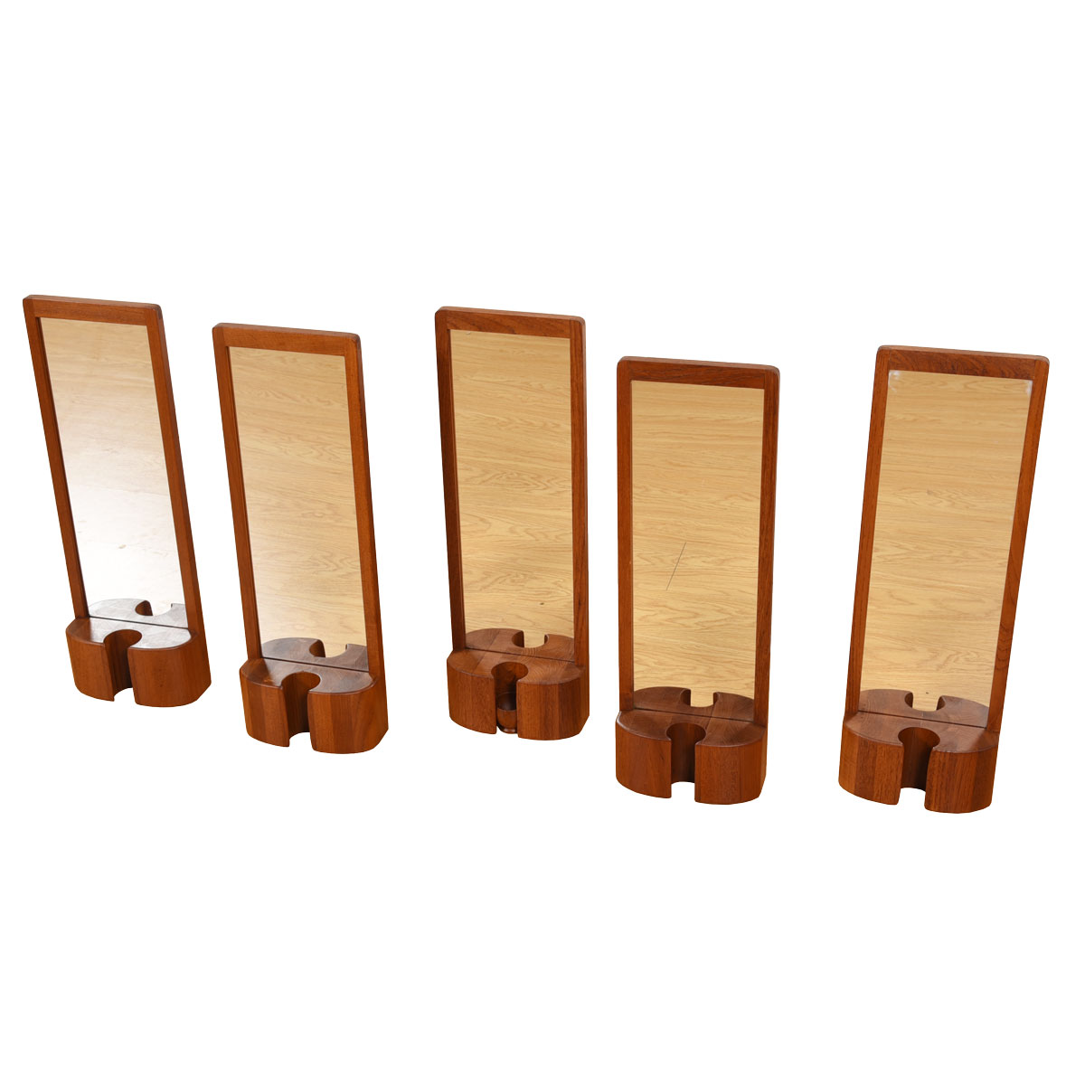 Slim Danish Modern Teak Mirror with Vase Holder