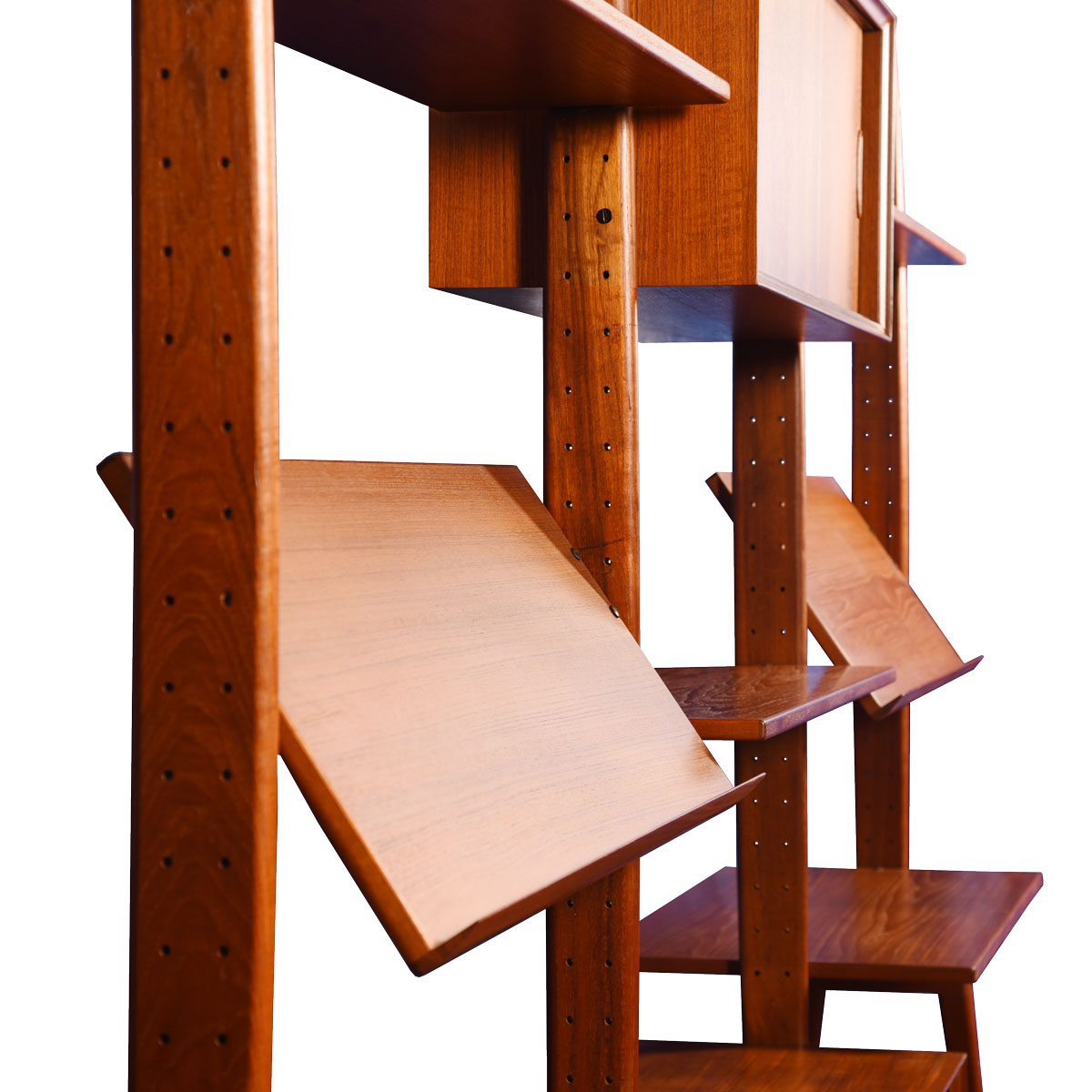 Erik Buch Rare Free-Standing Adjustable Room Divider / Wall Unit in Teak