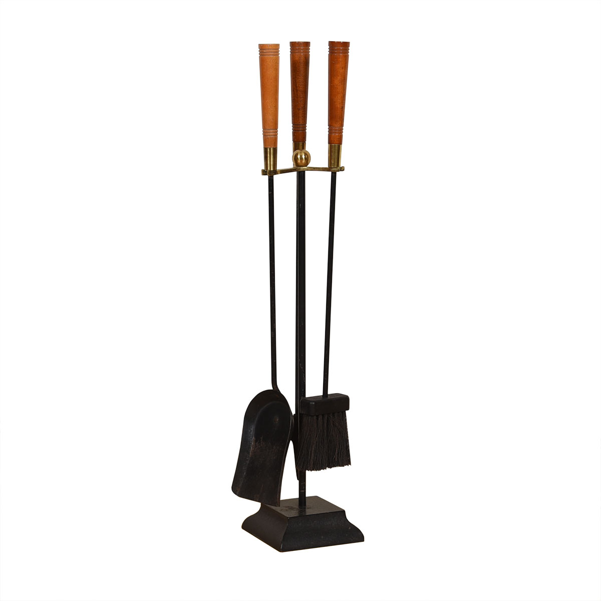 Mid Century Brass + Wood Accented Iron Fireplace Tool Set