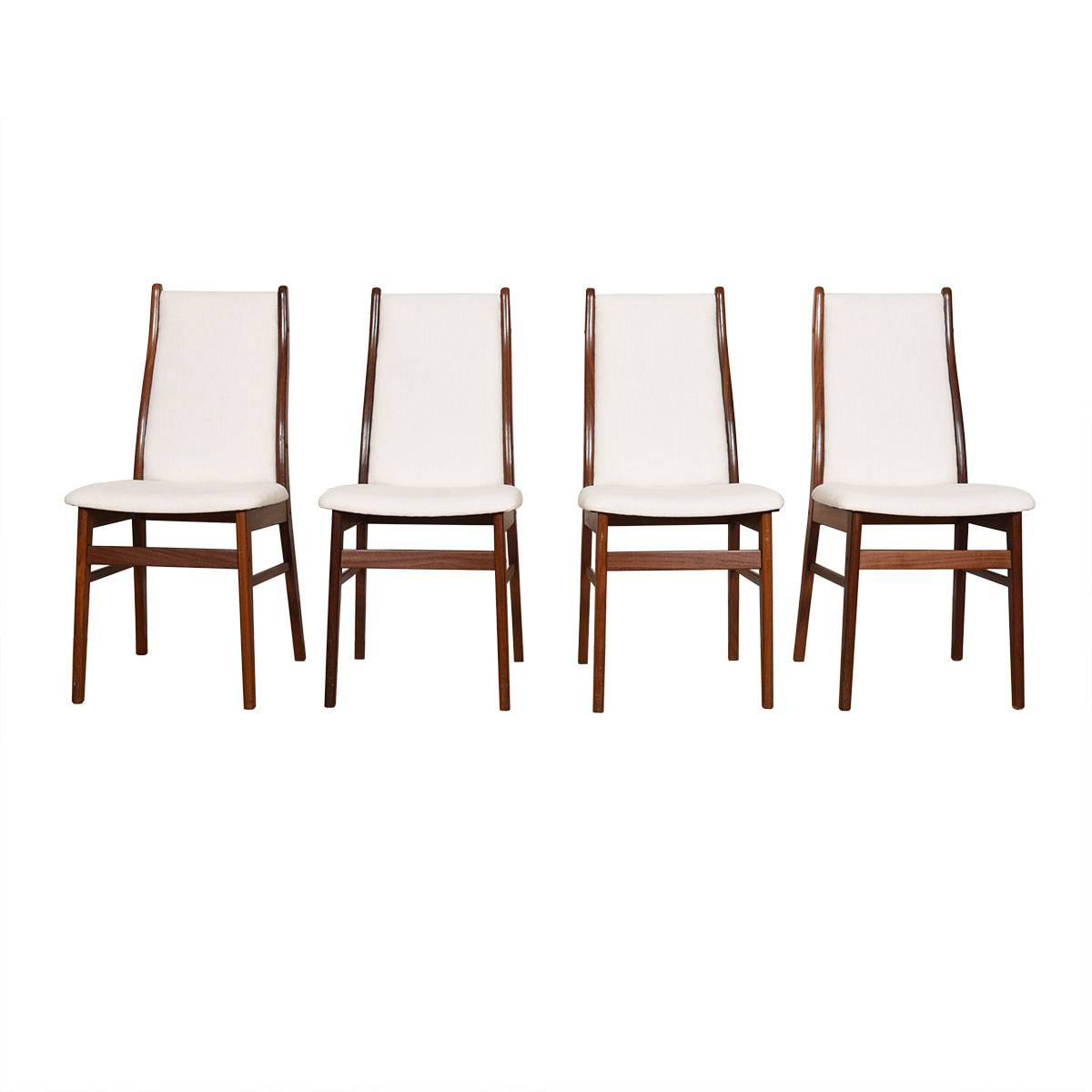Freshly Upholstered Set of 4 Danish Teak Curved-Back Dining Chairs