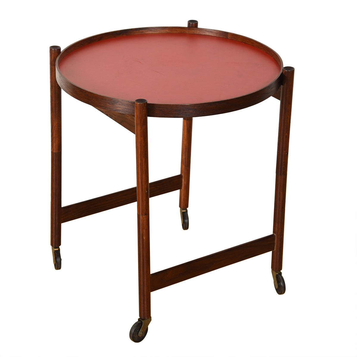 Danish Rosewood Collapsable Frame Flip-Top Accent Table