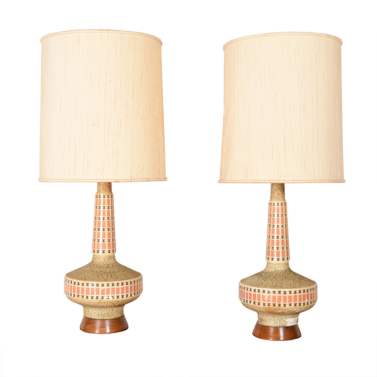 Pair of Tall Ceramic Lamps with Wood Bases