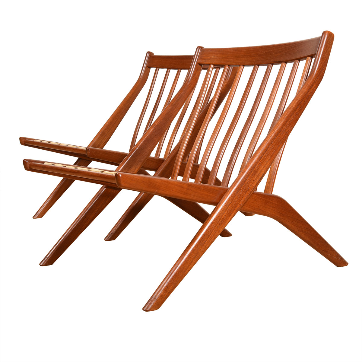 Pair of Dux Swedish Modern 'Scissor' Lounge Chairs in Teak