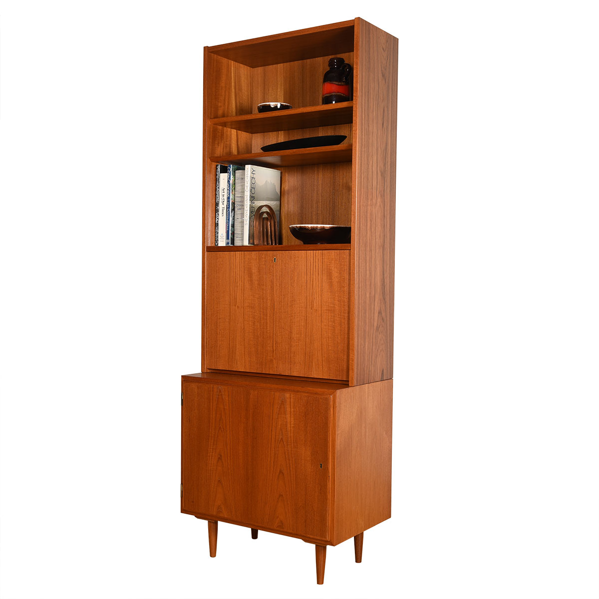 Studio-Sized 28″ Locking Cabinet + Secretary Bookcase Top in Danish Teak