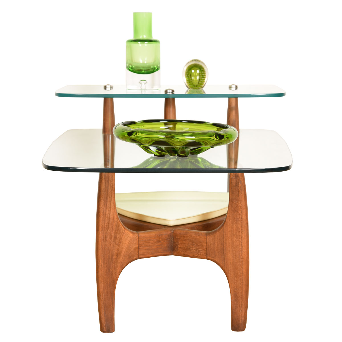 Adrian Pearsall Glass Step End Table with Original Planter Tray