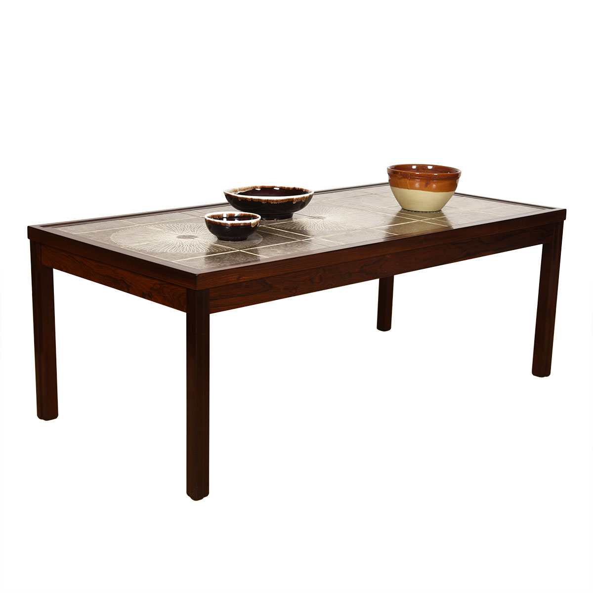 Scandinavian Modern Rosewood Tile Top Coffee Table