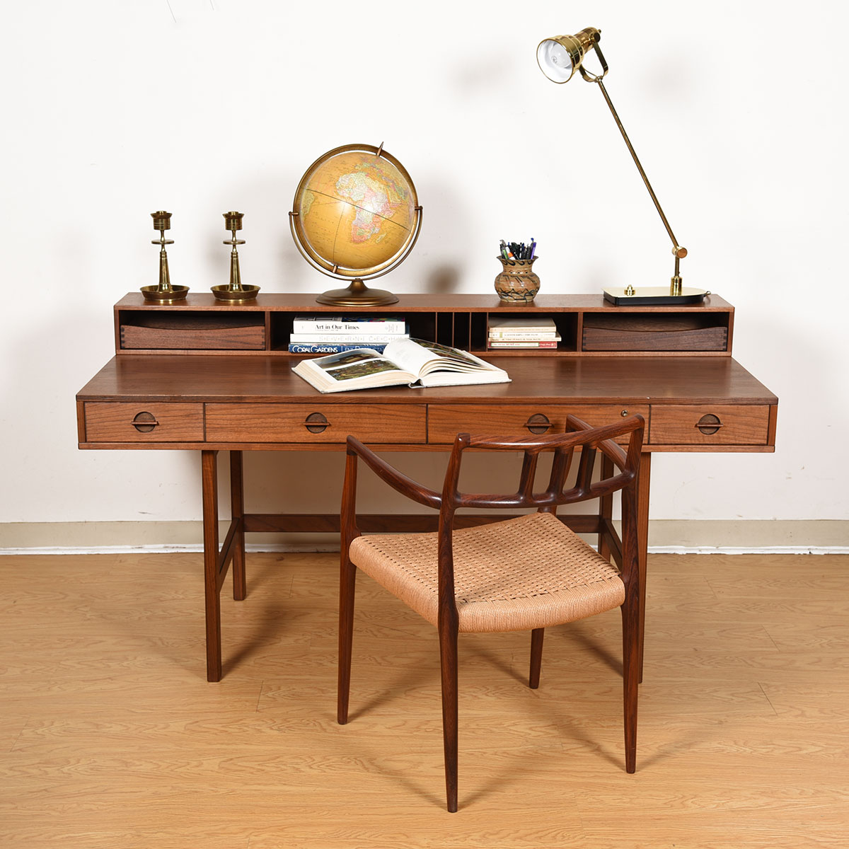 Lovig Walnut 'Flip-Top' Danish Modern Expanding Partner's Desk