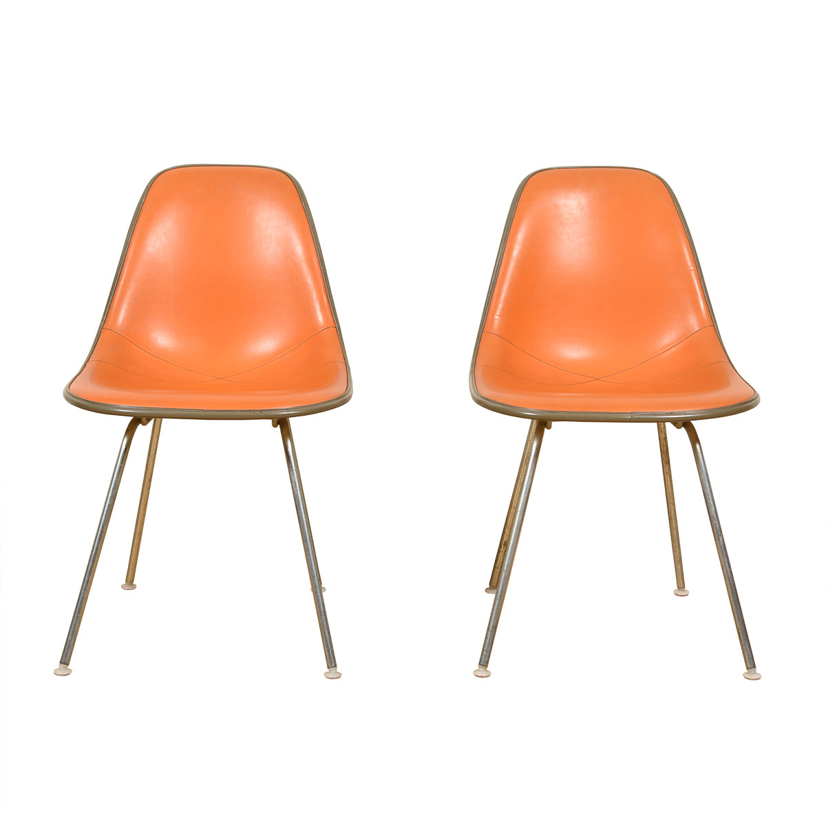 Pair of Orange Vintage Eames Chairs for Herman Miller