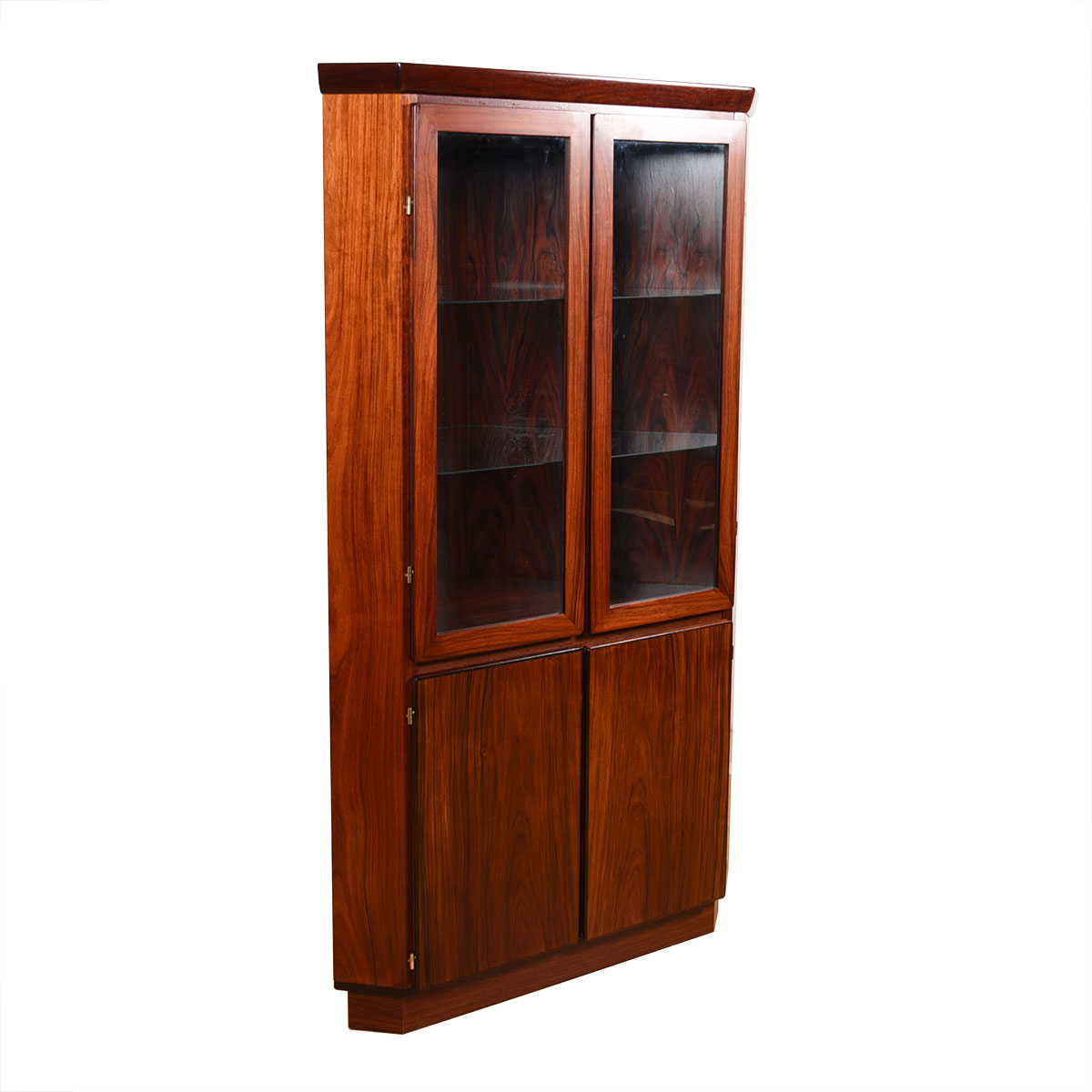 Danish Modern Rosewood Corner Display Cabinet w/ Light