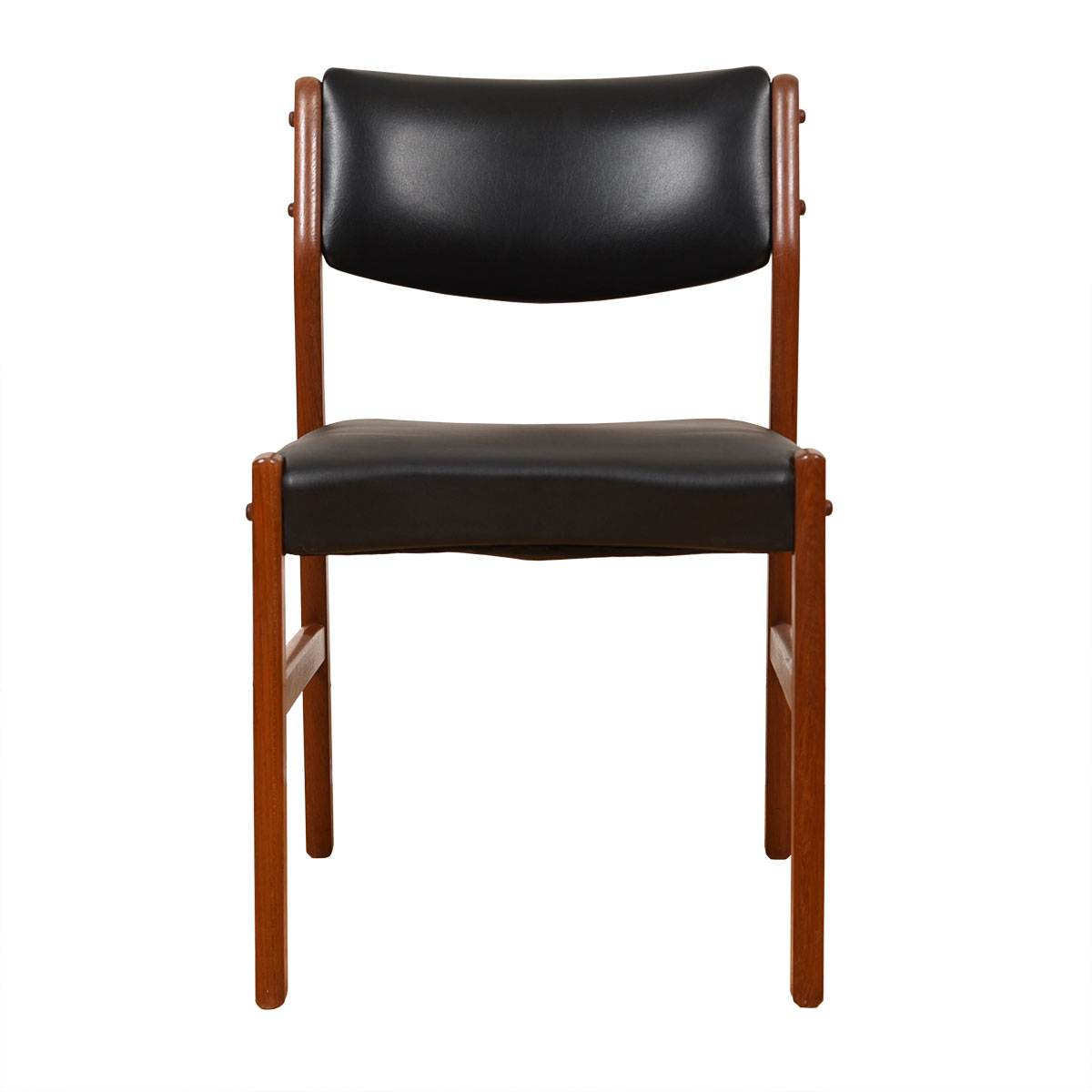 Single Danish Modern Teak + Black Upholstered Chair