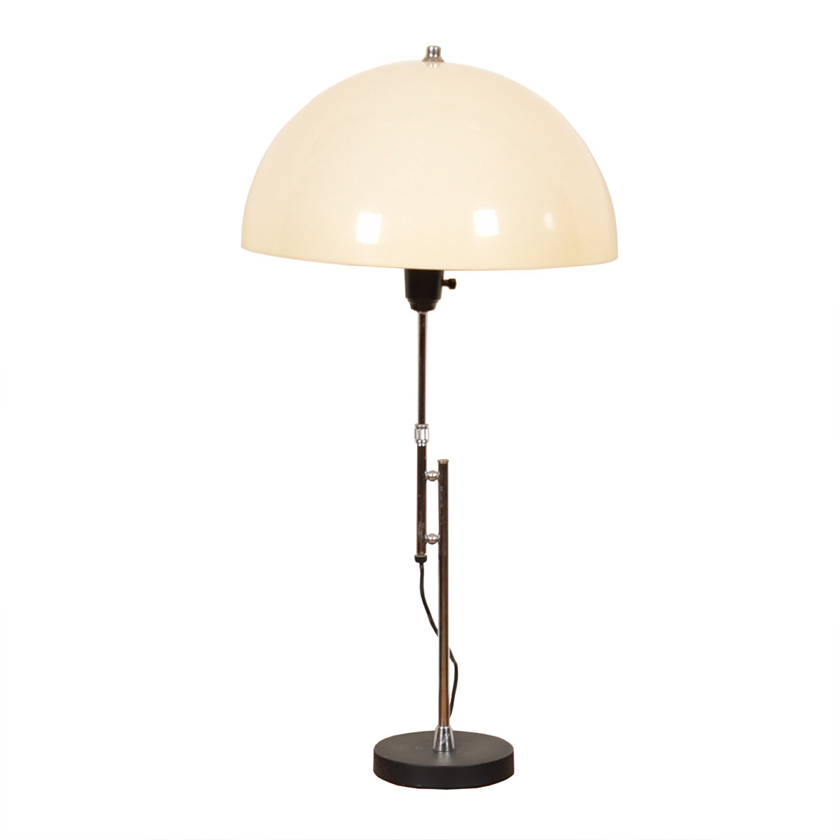 Adj Height Mid Century Chrome Table Lamp w/ Domed Shade