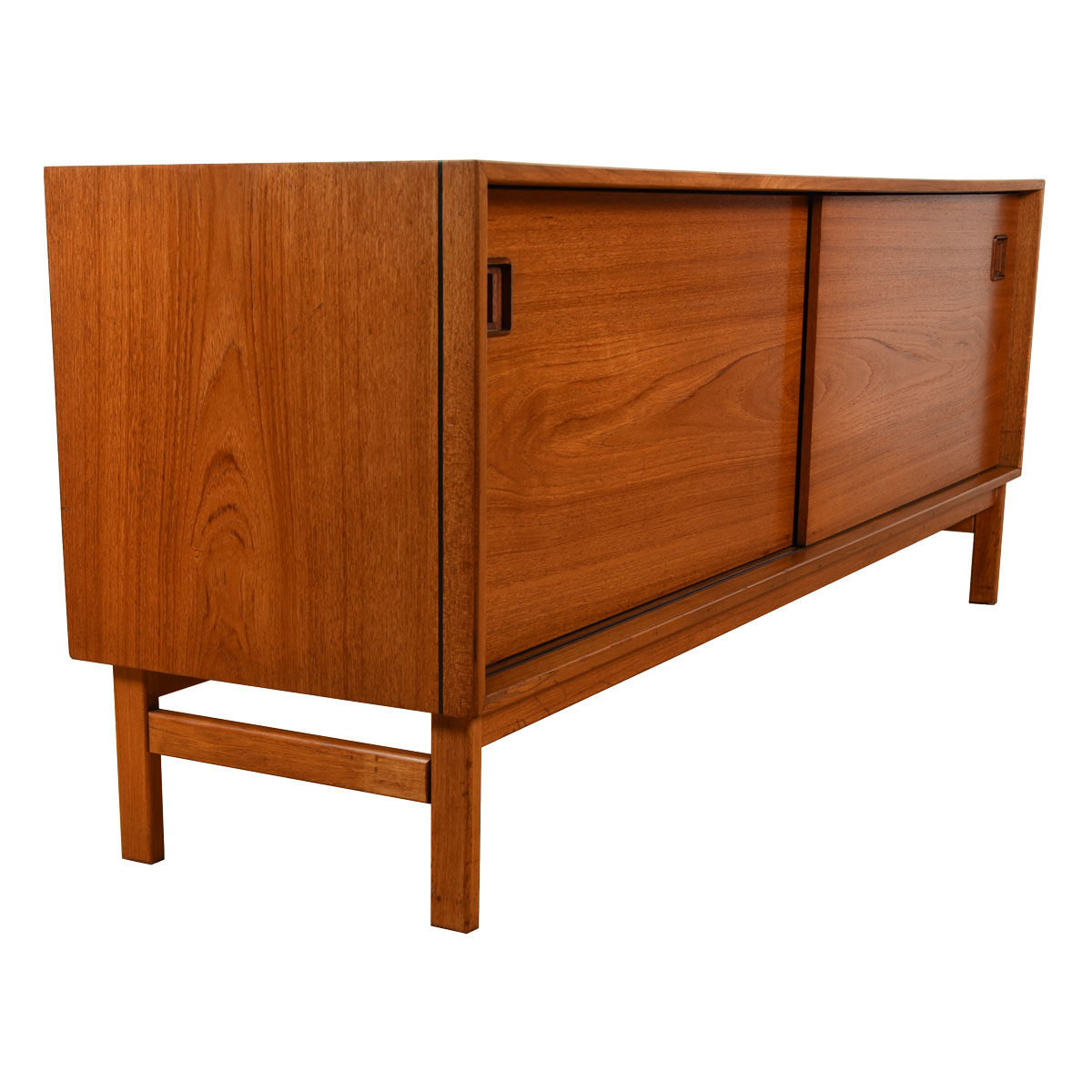 Danish Teak Low Sliding Door Cabinet / Sideboard w/ Black Edge Trim