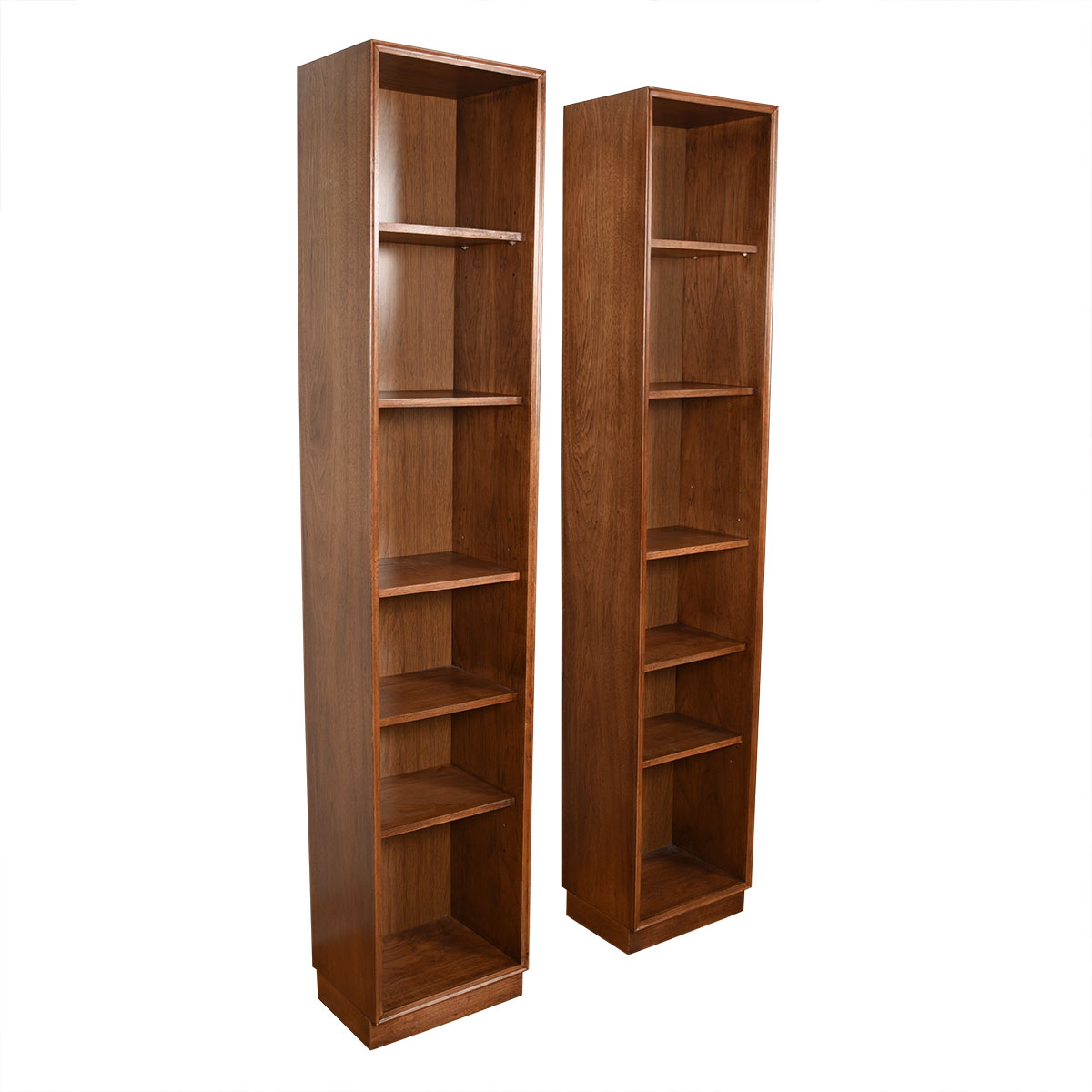 Pair of Tall Thin Open Bookcases w/ Removable Shelves
