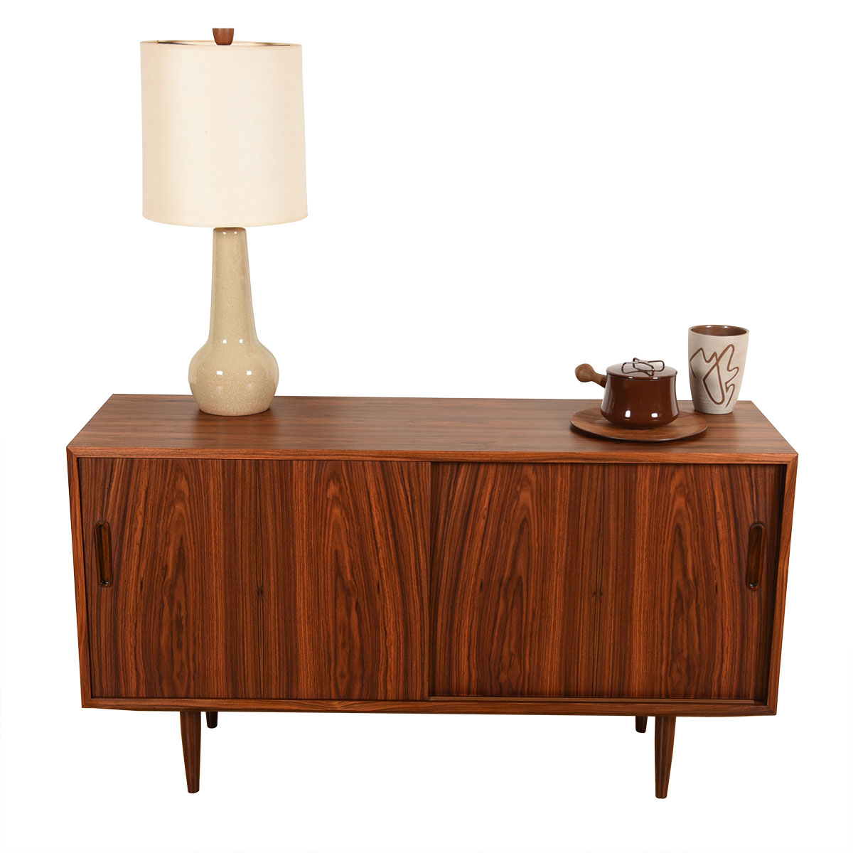 Danish Rosewood Condo-Sized Sliding Door Sideboard / Media Credenza