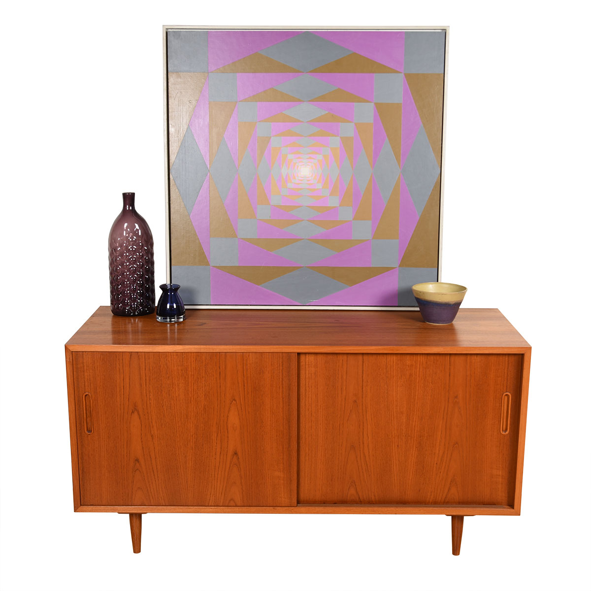 The Deep Media Credenza — 20″ Danish Teak Sideboard