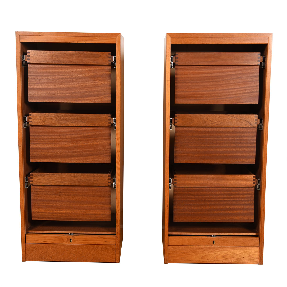 Pair of Tall Danish Modern Teak Locking Tambour Door Filing Cabinets