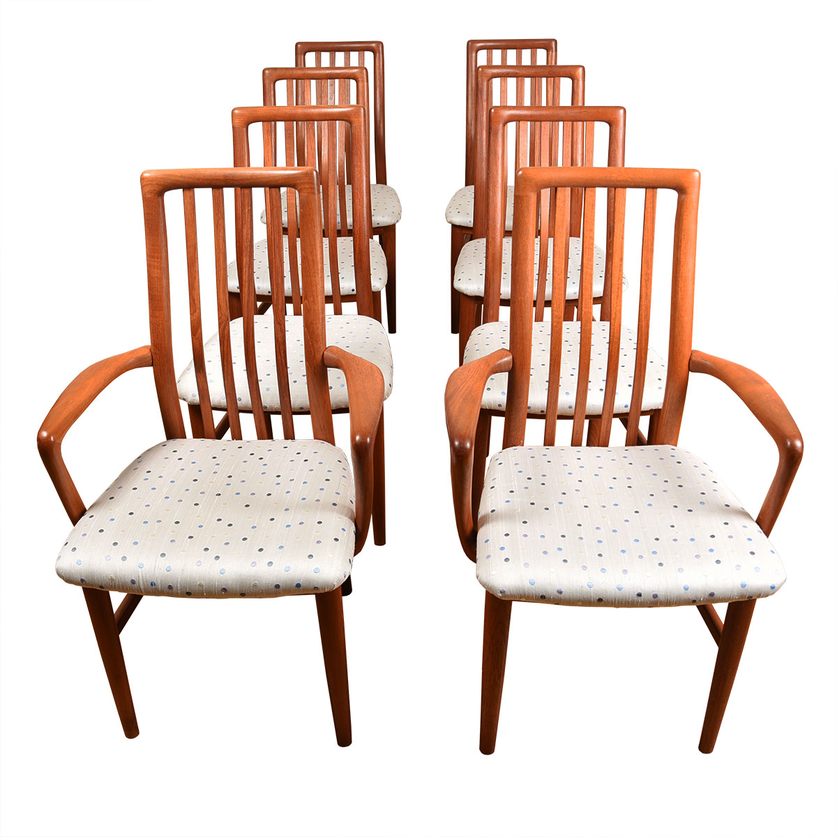 Set of 8 (2 Arm + 6 Side) Danish Teak Upholstered Dining Chairs