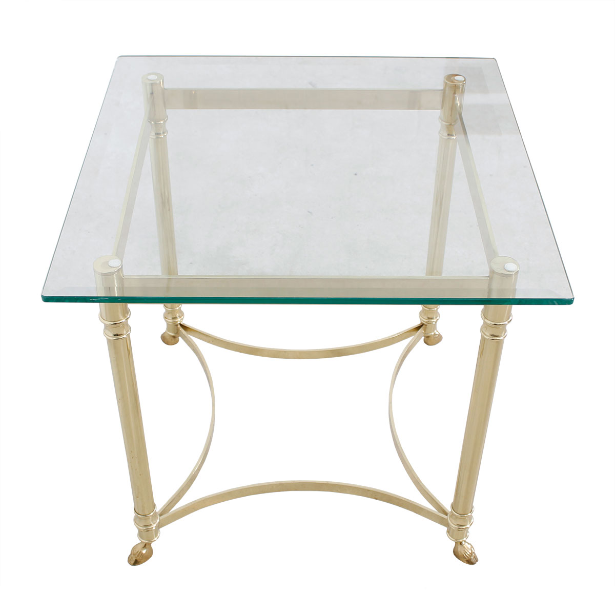 22.5″ Small Square LaBarge Brass & Glass Coffee Table