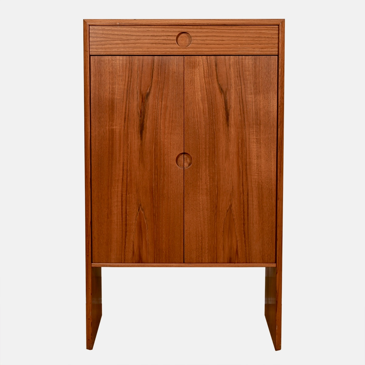 Versatile & Petite — Danish Modern Teak Adjustable Shelf Cabinet w/ Drawer