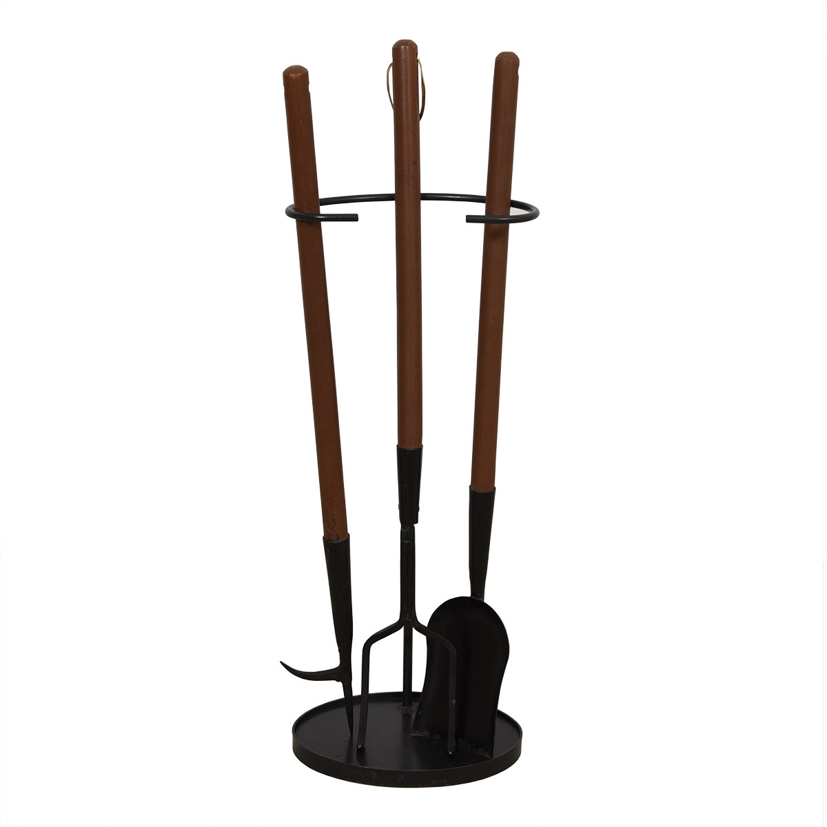 Mid Century Walnut-Handled Iron Fireplace Tools