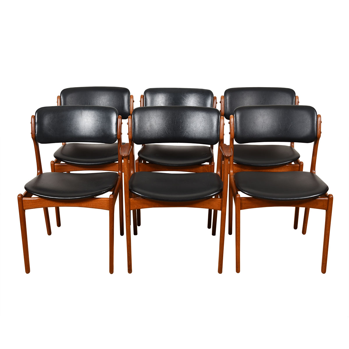 Set of 6 (1 Arm + 5 Side) Teak Dining Chairs by Erik Buch