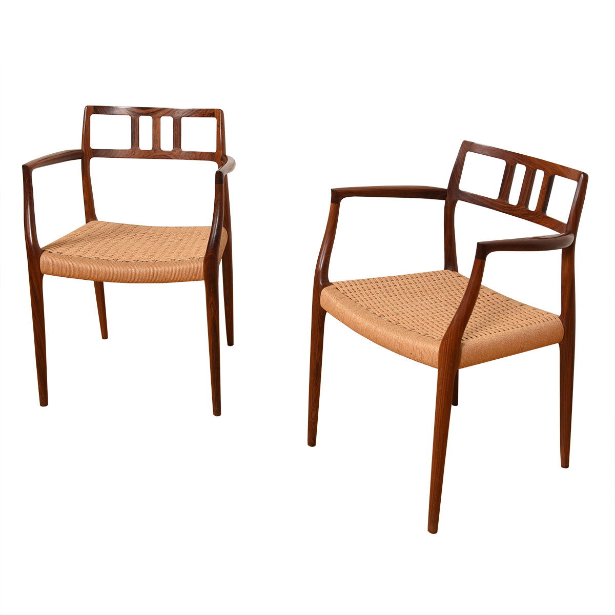 Pair of Danish Modern Rosewood Niels Møller Accent Arm Chairs