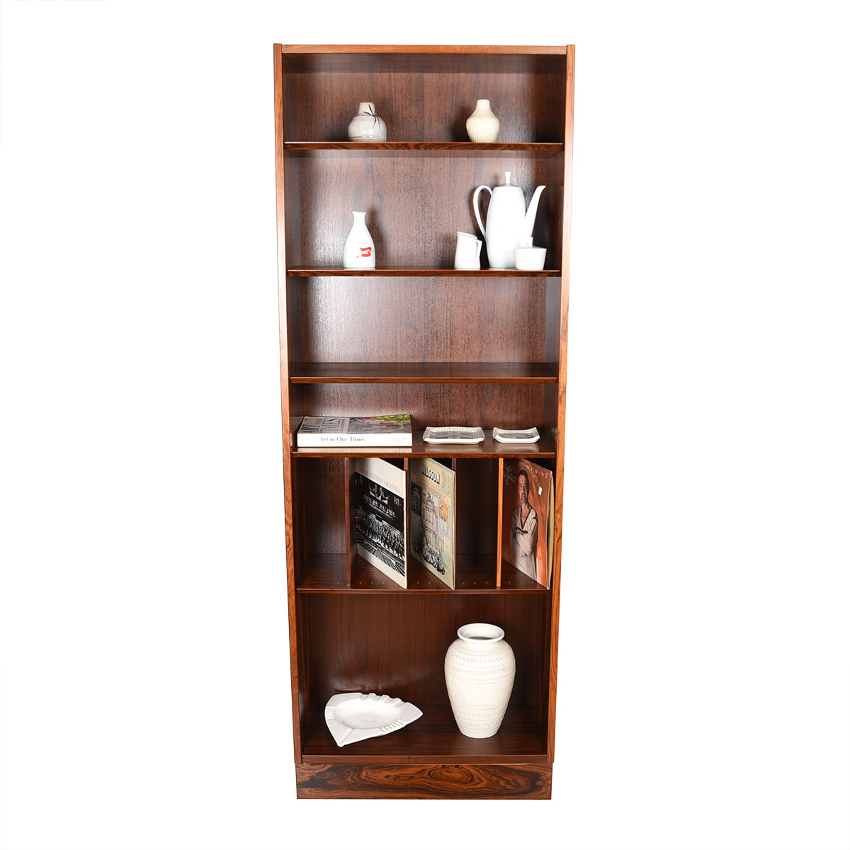 Danish Rosewood Compact 28″ Bookcase w/ Adjustable Shelves & Dividers