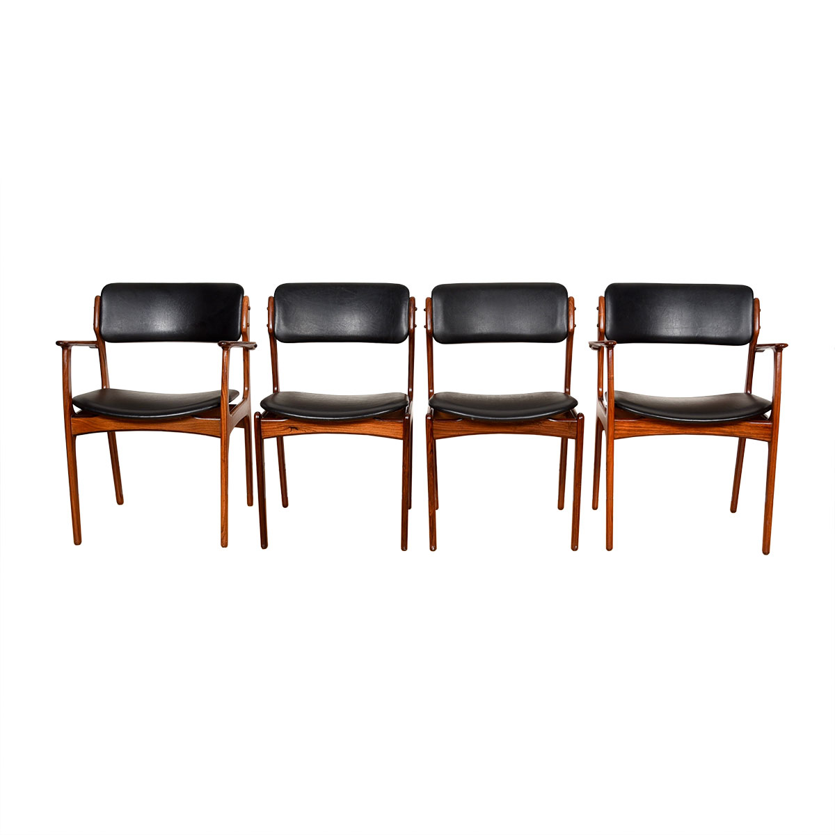 Set of 4 (2 Arm + 2 Side) Danish Rosewood Erik Buch Dining Chairs
