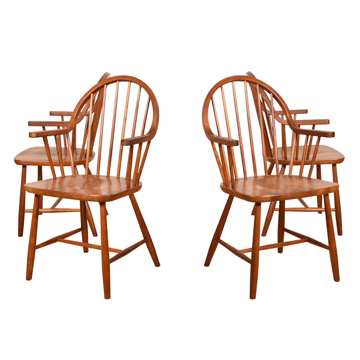 Set of 4 Danish Teak Vintage Spindle Back Dining Arm Chairs