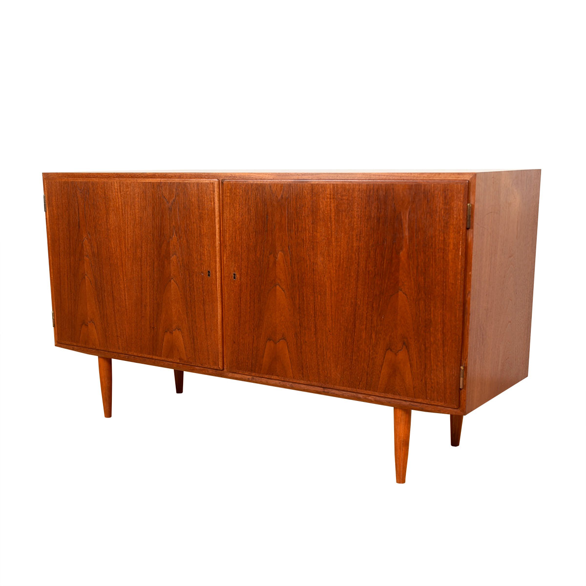 Compact Danish Modern Teak Locking Door Low Sideboard