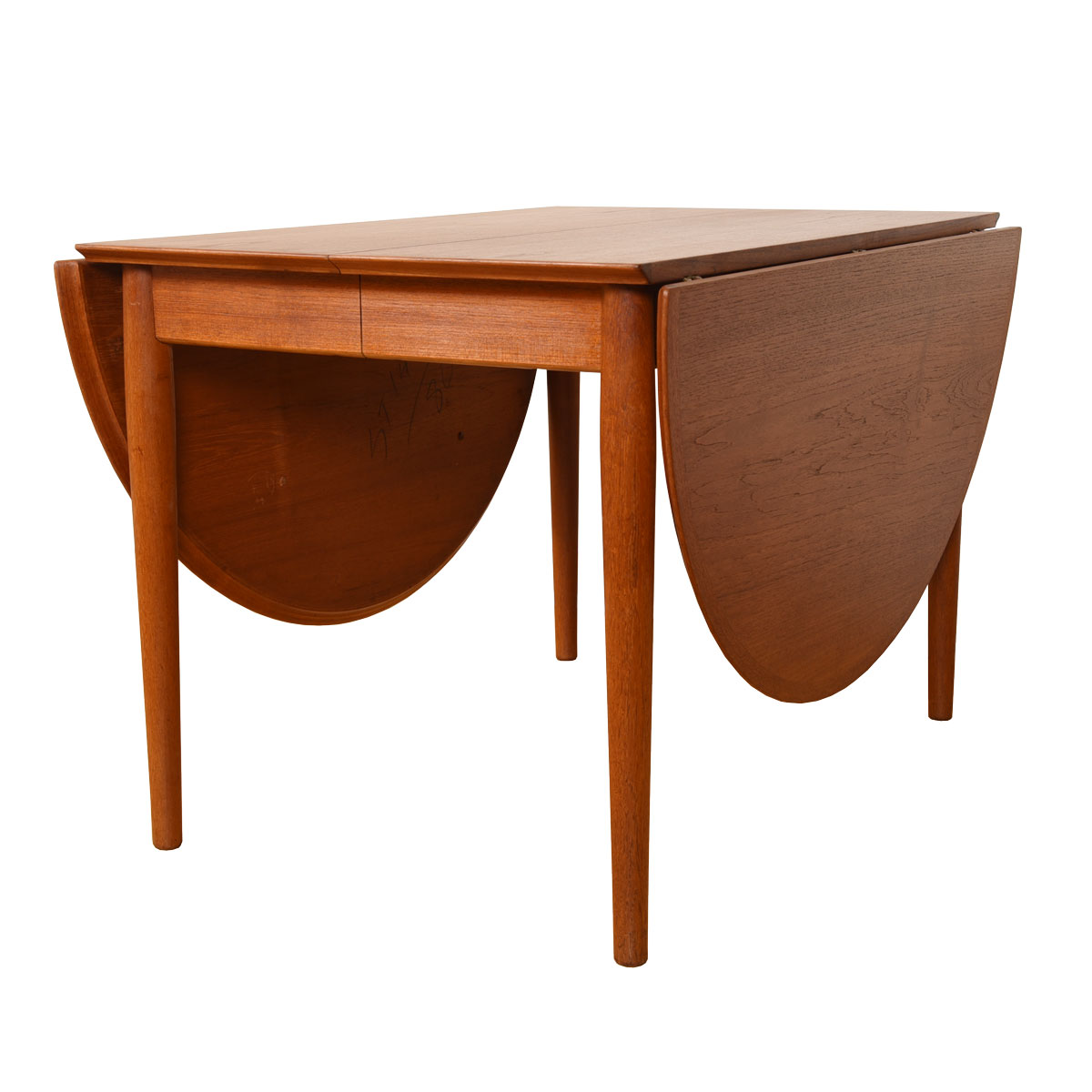Super Versatile & Expanding — Danish Teak Arne Vodder Round Drop-Leaf Dining Table