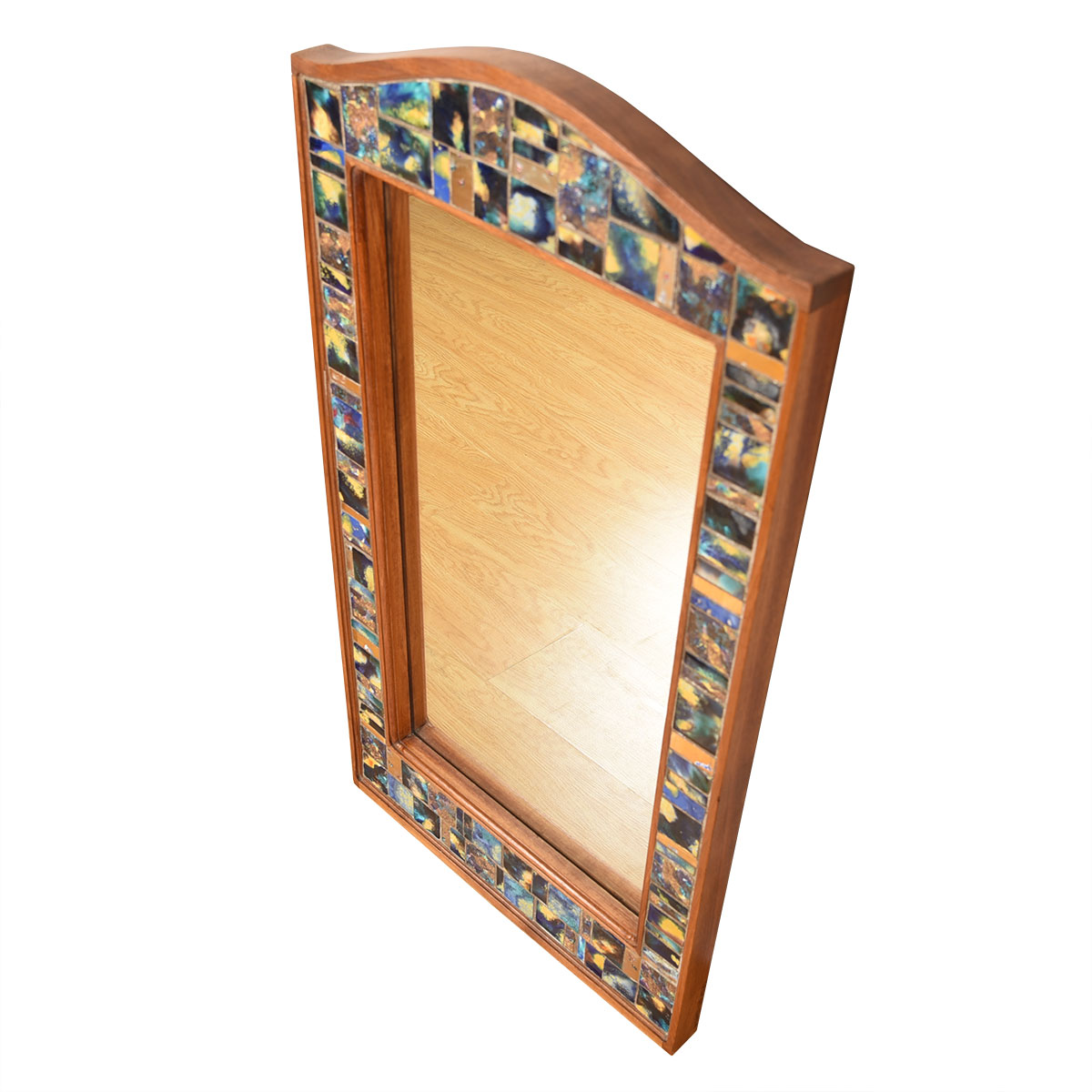 Large Mid Century Modern Corniced Mosaic Tiled Mirror