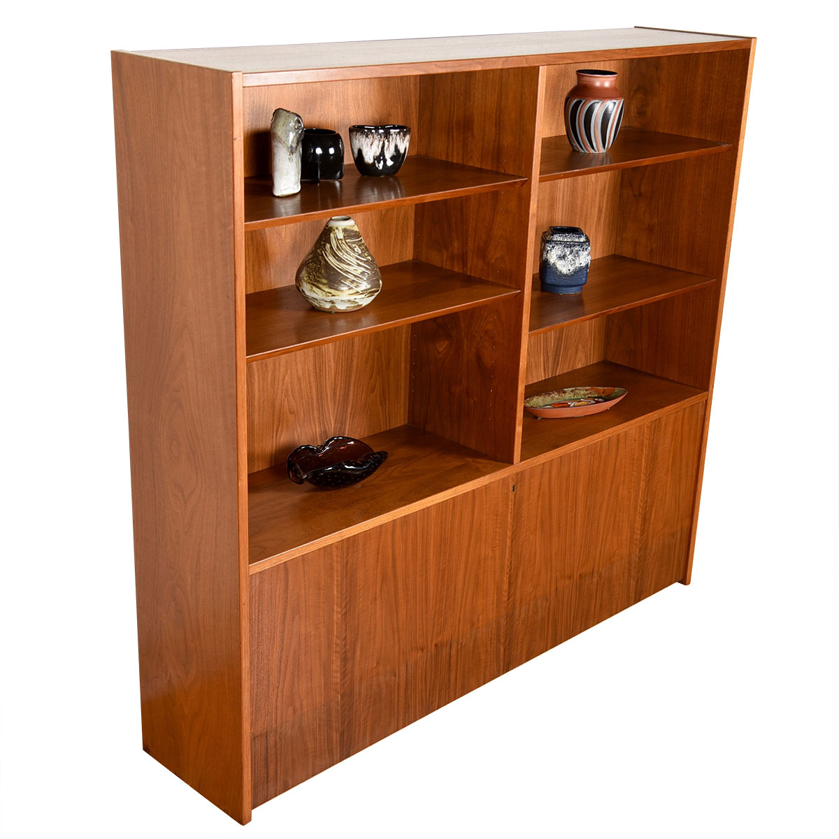 Danish Walnut Drop-Down Adjustable Bookcase / Display Cabinet / Secretary Top