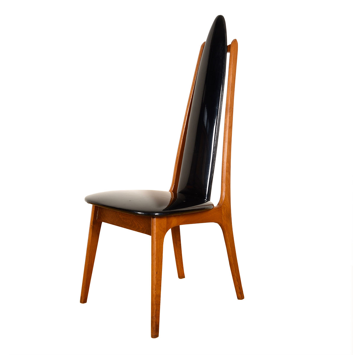 Mid Century Walnut + Black Upholstered 'Throne' Style Tallback Chair