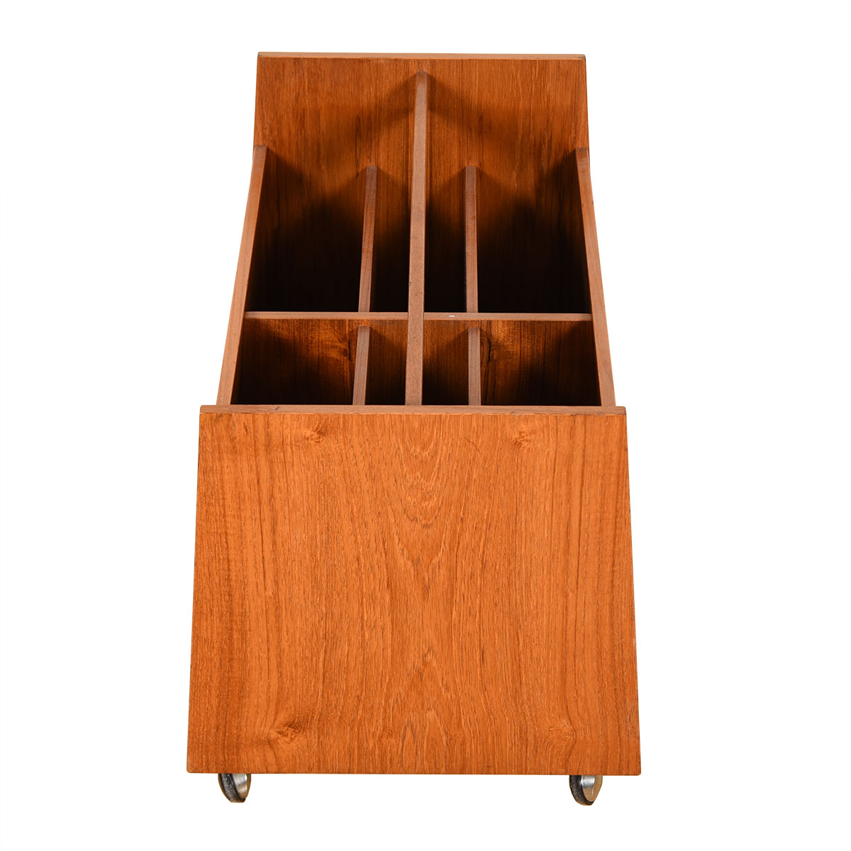 Danish Modern Teak Double-Column Rolling Magazine Cart