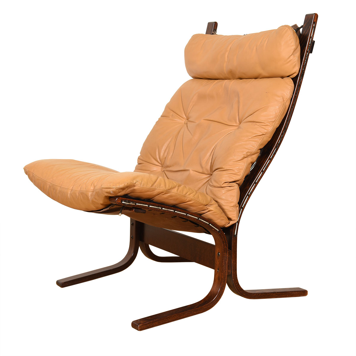 Rosewood Westnofa Siesta Tan Leather Tall-Back Lounge Chair