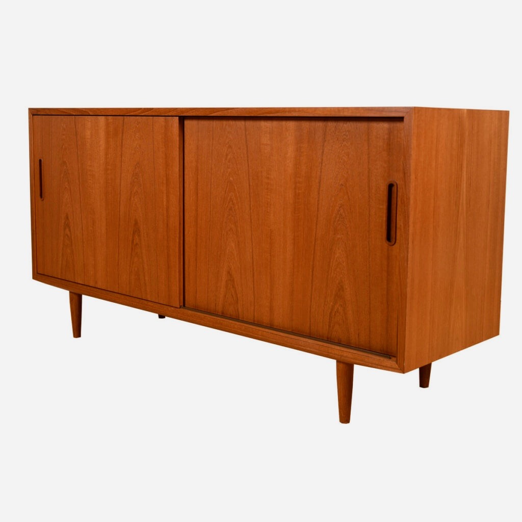 Condo Sized Danish Teak Sliding Door Media Credenza