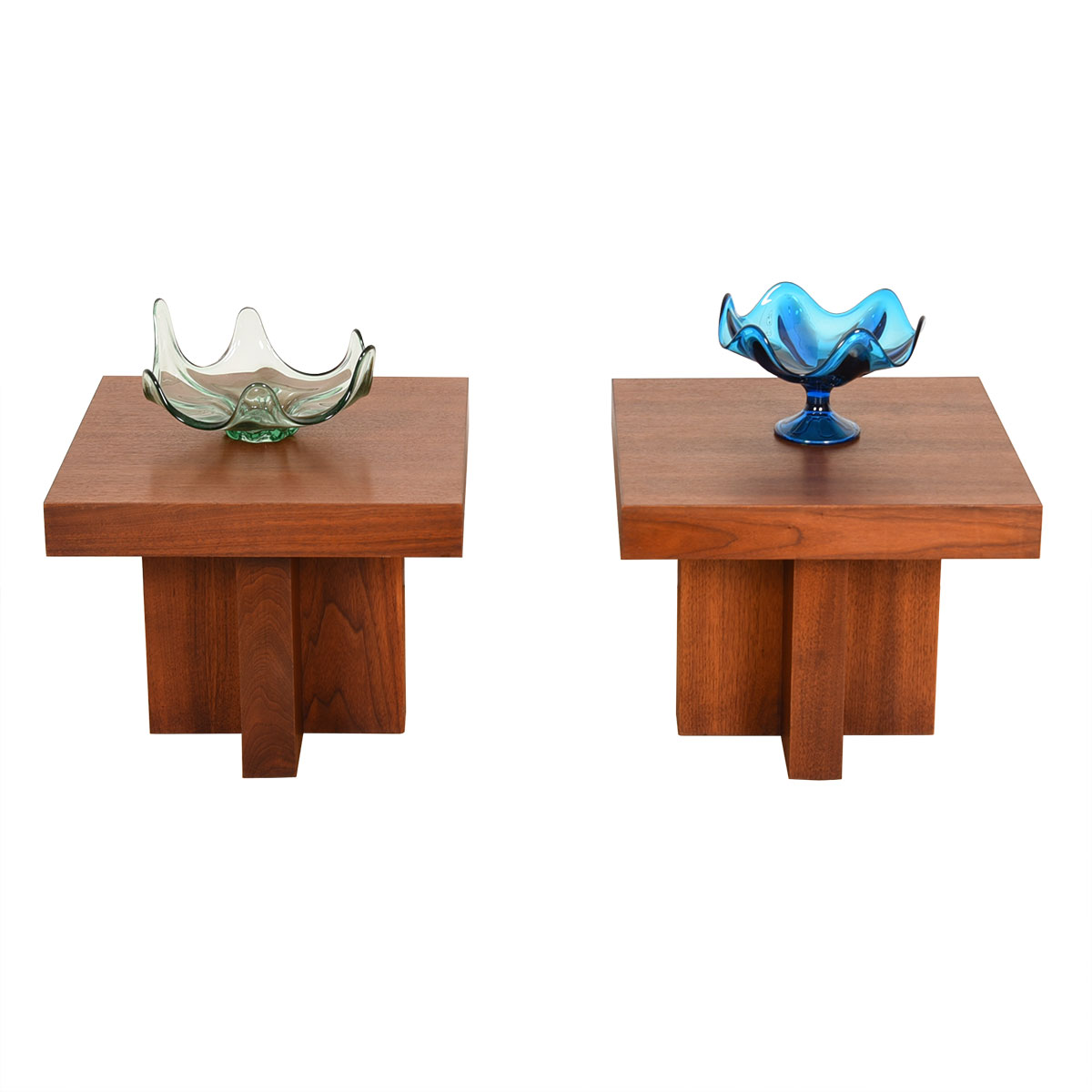 Pair Mid Century Modern Walnut Thick Accent Tables w/ X-Bases