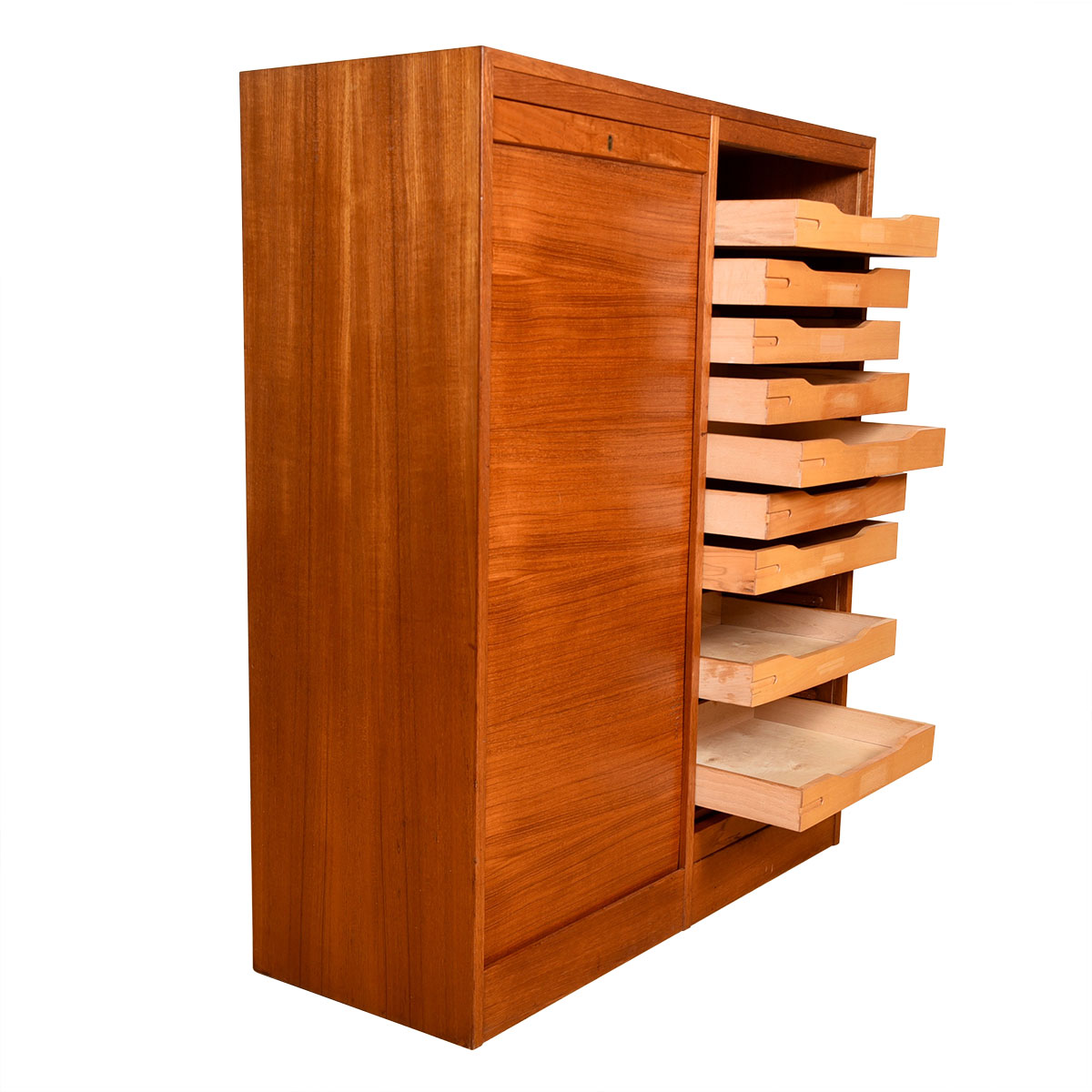 Danish Modern Teak Double Tambour Door Locking  File Organizer / Cabinet