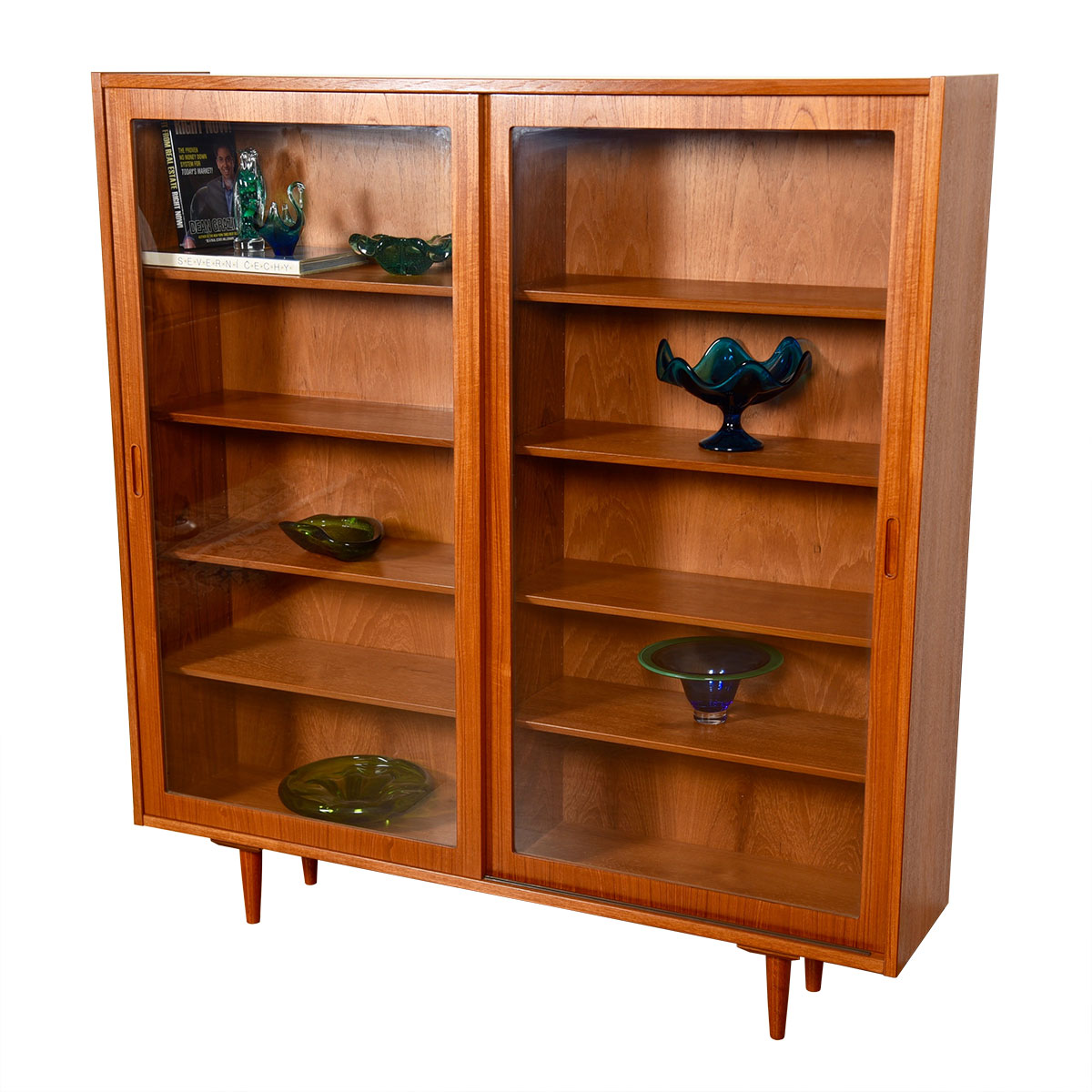 Condo-Sized Danish Teak Sliding Glass Door Adjustable Bookcase / Display Cabinet